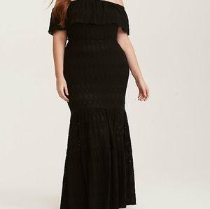 Torrid Black Crochet Cover Up Maxi Dress Size 5